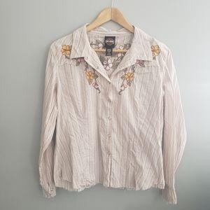 HD button up embroidered shirt XL
